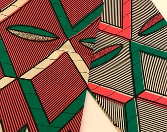 Pink & Green Abstract Print African Print Fabric - sold by the yard