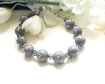 Grey fancy rhinestone disco ball bracelet