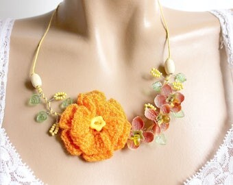 Wool crocheted orange and yellow flower necklace