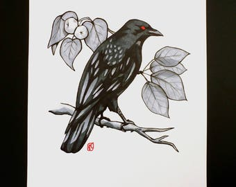 "Crow and Manchineel ORIGINAL DRAWING 8.5""x7"""