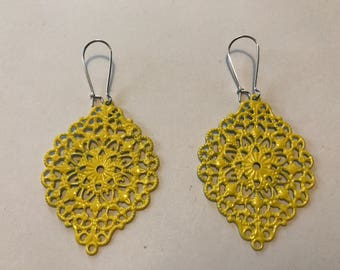 Painted Lightweight Filigree Earrings - Yellow 2 x 1 1/2 inch