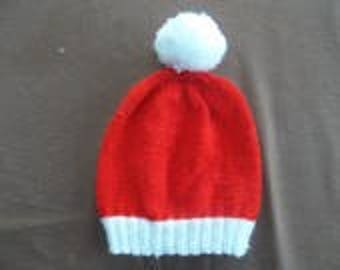 Round red with white Pompom Hat