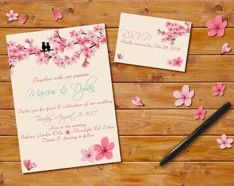 Cherry Blossoms Wedding Invitation, Custom Invitation, Pink Cherry Blossom Theme, Cherry Blossoms Announcement, Cherry Blossoms Invitation