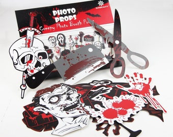 22PCS Scary Halloween zombie Photo Booth Stick Props DIY Kit Funny Photo Booth Halloween zombie Party Decorations