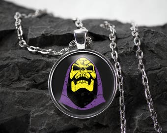 Skeletor Glass Pendant Motu necklace He-man jewelry masters of the universe photo pendant art pendant photo jewelry art jewelry silver