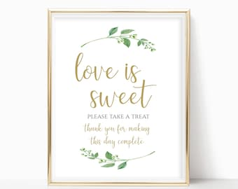 Love is Sweet Printable Love is Sweet Sign Dessert Table Sign Wedding Reception Sign Instant Download 8x10, 5x7, 4x6 Jasmine