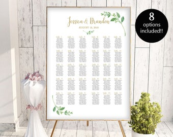Wedding Seating Chart by Table Seating Chart Printable Seating Chart Template Seating Board Wedding Sign 8 Options PDF Instant Download DIY