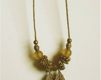 Indian Autumn pale frosty golden beads with antiqued bronze leaves