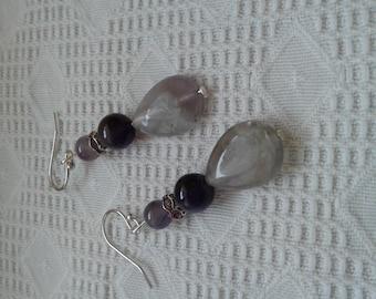 Amethyst earrings, 925 sterling silver and rhinestones