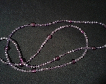 Matching necklaces with natural amethysts and Lampwork (glass from Venice)