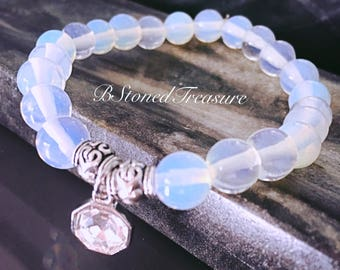 Beautiful Opalite Swarvoski Crystal Pendant Natural Gemstone Bracelet