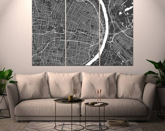 St. Louis Missouri / City Map / Canvas Print / Wall Art / Large 3, 5 or 6 panel