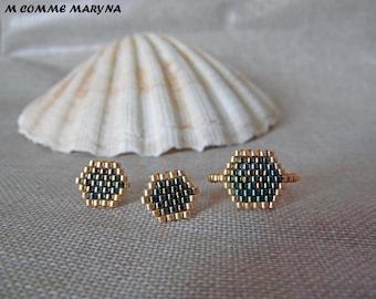 Ornament beads Miyuki 2 piece gold and green handwoven Bohostyle Bohemian boho chic