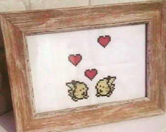 Pikachu Hearts Retro Cross Stitch Art
