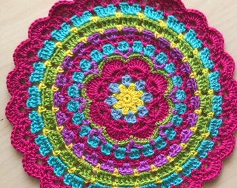Crochet Doily, Round Doily, Crochet Mandala Doily, Crocheted Doily, Crochet Home Decor, Handmade Doily, Centerpiece, Crochet Centerpiece