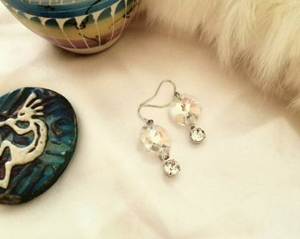 Swarovski dangle earrings with large octagon crystal