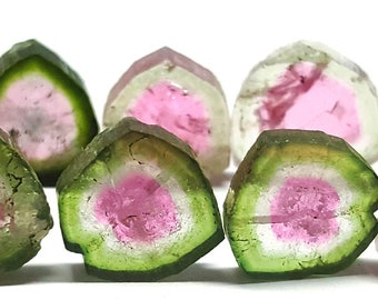 44 Carats Natural Watermelon Tourmaline Slices Polishedfrom Afghanistan