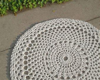 "Ivory crochet round doily mandala area rug 44"""