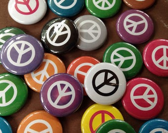 12 Peace Buttons