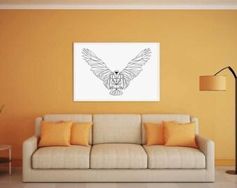 Geometric eagle printed canvas (black/white)