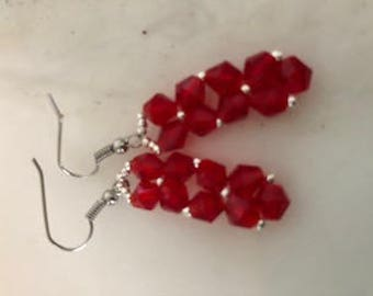 Rock Candy Pendant Earrings in Red