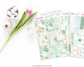 50% OFF Garden Mint Green Floral Flowers Weekly Kit Planner Stickers for Erin Condren Life Planner Recollections B6 Personal Happy Planner