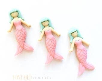 Pink Mermaids - Set of 3, Mermaid Cabochons