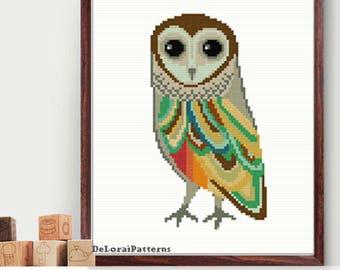 Owl cross stitch be wise owl baby owl baby shiwer gift nursery cross stitch baby room wall art modern cross stitch pattern Instant Download