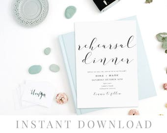 Rehearsal Dinner Invitation INSTANT DOWNLOAD, Practice Makes Perfect, Wedding Rehearsal Editable pdf, Printable Wedding invite - Blissa
