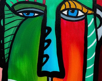 Colorful Abstract Face Acrylic F Painting