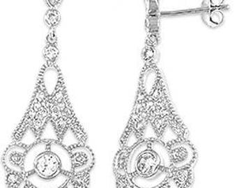 Silver Earrings With Cubic Zirconia (ez631)