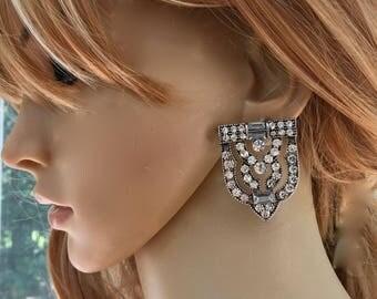 Great Gatsby Earrings, Flapper 1920s Earrings, Art Deco Earrings, Bridal Wedding Earrings, Clip On Earrings, Bridal Pierced Earrings