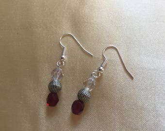 Red, silver and clear bead earrings
