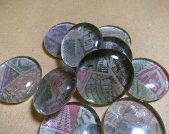 10 Vintage stamp glass magnets