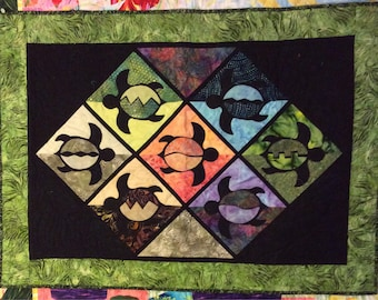 """Turtle Quilted Wall Hanging - 38.5"""" x 28"""""""