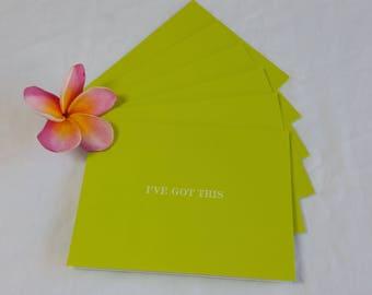 Green Note Cards Set of 6 with Envelopes
