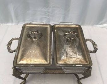 Vintage Iron Food Warmer Antique Chafing Dish with 2 Slots and 2 Glass Container