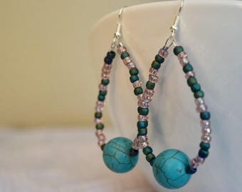 Turqouise bead dangle chandelier earrings