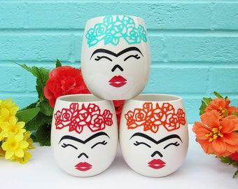 Ceramic & Vinyl Frida Kahlo Inspired Cup/Vase