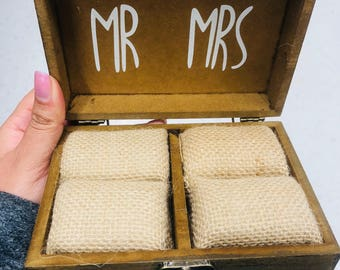 Wedding Ceremony Ring Box for Ring Bearer | Wooden Ring Box || Ring Security Box instead of Ring Pillow