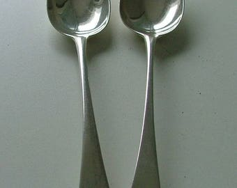Pair George111 antique sterling silver English tablespoons. 1791 & 1798.