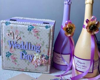Wedding Day Casket Made of Natural Wood (alder) for Storing Memorable Trivia.
