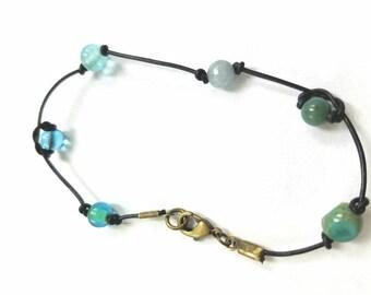 Leather Indigo Art Bracelet