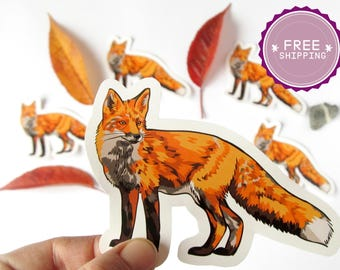 Fox stickers |Christmas gift under 10,Fox lover gift,Stocking stuffer,Animal lover gift,Biology gifts,Notebook decor,Journal stickers