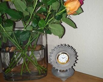 Motorcycle sprocket clock natural finish
