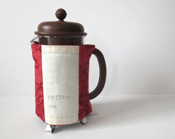Cafetiere Warmer - French Press Coffee Maker Insulated Cosy Cozy; Hand Printed, Hand Sewn, Red & Green Plaid Cotton w/ Button by Proxy Goods