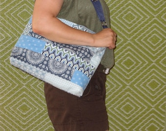 Shoulder bag shoulder bag, stripes, blue, zipper