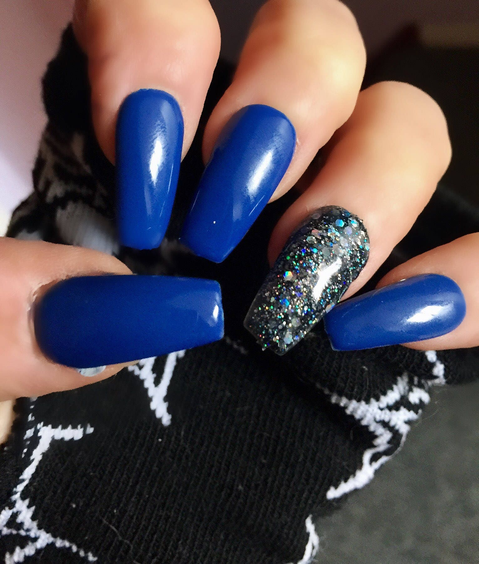 Womens Hand Painted False Nails Blue Diamond Coffin Full Cover Tips ...