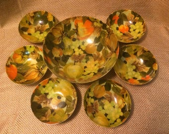 Vintage Fruit print bowls made from fabric