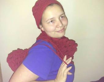 Pony tail beanie, draw string purse, neck warmer set